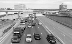 Cars move slowly along the notoriously congested Capital Beltway.