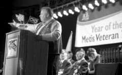 MMF president David Chartrand speaks in Brandon in September 2011.