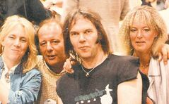 Bill Edmondson (second from left) with his companion, Coral, hangs out with Neil Young and his wife, Peg (left), back in the day.