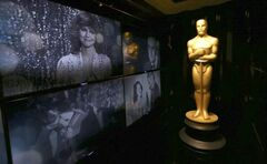 An Oscar statue is seen in front of the Oscar Green Room.