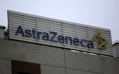 The logo of AstraZeneca is seen on the company's building in Shanghai, China, July 24, 2013. THE CANADIAN PRESS/AP, Eugene Hoshiko