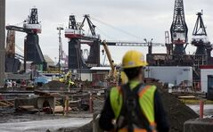 Cranes are pictured at the Vancouver Shipyard in North Vancouver, B.C. Monday, Oct. 7, 2013. The federal government announced that the Vancouver Shipyard will be building up to 10 additional large non-combat ships for the Canadian Coast Guard. THE CANADIAN PRESS/Jonathan Hayward
