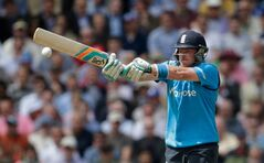 England's Ian Bell hits a shot during the One Day cricket match between England and Sri Lanka at the Oval cricket ground in London, Thursday, May 22, 2014. (AP Photo/Matt Dunham)