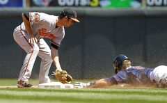 Minnesota Twins' Brian Dozier, right, safely steals second base as Baltimore Orioles shortstop J.J. Hardy gets the late throw from home during the fifth inning of a baseball game in Minneapolis, Sunday, May 4, 2014. (AP Photo/Ann Heisenfelt)
