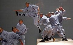 FILE - In this Wednesday May 20, 2009 file photo, monks from the Shaolin Temple in China, rehearse a dance entitled