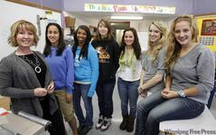Sandi Wagner (from left) with students Shirine Adel, Rana Ali, Krissy Gilmore, Tawny Young, Sarah Cable and Taylor DeCaigny.