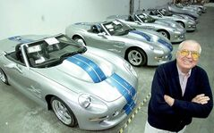 In this Oct. 27, 2000 file photo, automotive legend Carroll Shelby poses in front of his Shelby Series 1 sports cars at his plant in Las Vegas. The 2013 Ford Shelby GT500 (below) is the last Mustang sanctified by the late Shelby, who died in Dallas last May at age 89.