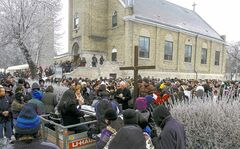 More than 800 people participate in the Archdiocese of Winnipeg's 26th annual Public Way of the Cross on Good Friday, hosted this year by the St. John Cantius Parish Church on Burrows Avenue.