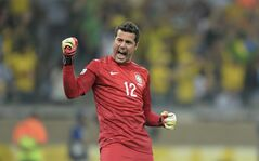 Brazil's Julio Cesar celebrates on June 26, 2013 in Belo Horizonte, Brazil. THE CANADIAN PRESS/AP, Eugenio Savio