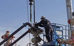 Perforating tools, used to create fractures in the rock, are lowered into one of six wells during a roughly two-week hydraulic fracturing operation at an Encana Corp. well pad near Mead, Colo. on March 25, 2014. THE CANADIAN PRESS/AP, Brennan Linsley