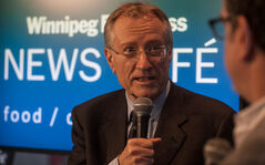 Senator Art Eggleton, former Canadian Cabinet Minister and Mayor of Toronto, speaks with columnist Dan Lett at the Winnipeg Free Press News Café about child and family poverty issues on Thursday, November 29, 2012.