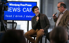 Winnipeg Actor, writer, producer Jonas Chernick chats with Randall King in the News Café on Monday.