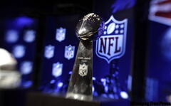 The Vince Lombardi Trophy, which is awarded to the winner of the Super Bowl. The New Orleans Saints will play the Indianapolis Colts in Super Bowl XLIV Sunday, Feb. 7, at Sun Life Stadium in Miami.