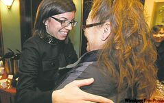 Niki Ashton (left) greets a supporter at the Fort Garry Hotel Friday.