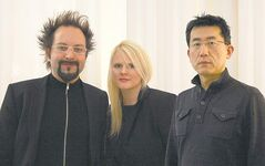 Sasa Radulovic (left), Johanna Hurme and Jae-Sung Chon conceived and curated Migrating Landscapes.