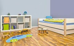 Blues are a good choice for a child's bedroom as they are known to soothe, relax and improve productivity.