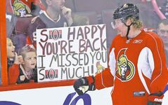 Ottawa fans will have bittersweet memories of 2013: Here, fans show their appreciation to Sens Captain Daniel  Alfredsson on the end of the lockout in January. Seven months later, they said goodbye, as their beloved captain bolted for the Detroit Red Wings in free agency.