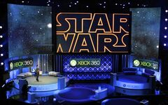 FILE - In this June 14, 2010 file photo, Microsoft presents an upcoming LucasArts'