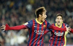 Barcelona's Neymar from Brazil celebrates after scoring his team's second goal during a Spanish La Liga soccer match between Barcelona and Villarreal at the Camp Nou stadium in Barcelona, Spain, Saturday, Dec. 14, 2013. At right Barcelona's Marc Bartra.(AP Photo/Emilio Morenatti)