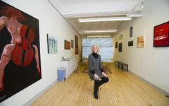 Winnipeg artist Louise Kollinger in her studio in the Silpit Building.