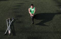 In this Thursday, June 5, 2014 photo, Niseforo Bazan Sierra trains with his soccer team Guerreros Aztecas, or Aztec Warriors, in Mexico City, Thursday, June 5, 2014. Bazan Sierra said he lost his leg due to a stray bullet 19 years ago in Guerrero state. (AP Photo/Marco Ugarte)