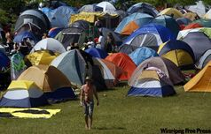 Tents bloom in festival camping at the Winnipeg Folk Festival in this file photo.
