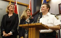 WInnipeg Police Insp. Gord Pierre, Det. Shaunna Neufeld and Christy Dzikowicz of the Canadian Centre for Child Protection smile Monday morning as they discuss the conclusion to the Maryk missing children case.