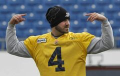 Winnipeg Blue Bombers quarterback Buck Pierce at the team's practice Wednesday.