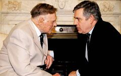 Denis Avey, 91, tells his story to British Prime Minister Gordon Brown.