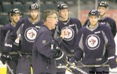 Jets head coach Claude Noel says Saturday's 7-1 defeat is history, but that didn't stop him from doing a bit of barking during Monday's practice.