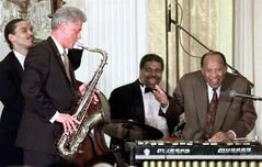 Jazz legend Lionel Hampton, right, performs with President Bill Clinton in the East Room of the White House July 23, 1998. THE CANADIAN PRESS/AP, Ruth Fremson