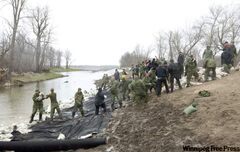 Members of the Canadian Forces and the Navy work side by side as they repair parts of a damaged dike along the Assiniboine River near Popular Point on Friday.