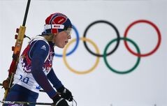 Norway's Tora Berger skis on her way to win the silver medal in the women's biathlon 10k pursuit, at the 2014 Winter Olympics, Tuesday, Feb. 11, 2014, in Krasnaya Polyana, Russia. (AP Photo/Felipe Dana)