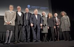 Recipients of the Governor General's Awards in Visual and Media Arts, left to right, Margaret Dragu, Geoffrey James, Charles Lewton-Brain, Ron Martin, Diana Nemiroff, Jan Peacock, Royden Rabinowitch and Jana Sterbak pose for a group photo following the 2012 Governor General's Awards in Visual and Media Arts ceremony in Toronto on Tuesday, February 28, 2012. THE CANADIAN PRESS/Pawel Dwulit