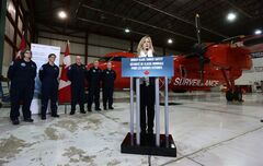 Minister of Transport Lisa Raitt makes an announcement regarding tanker safety and Canada's surveillance and monitoring of pollution in Canadian waters during a news conference at Vancouver International Airport in Richmond, B.C., on Wednesday February 19, 2014. THE CANADIAN PRESS/Darryl Dyck