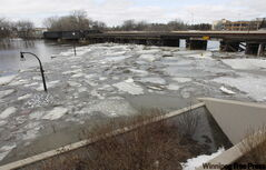 The view from the Moorhead side of the Veterans Memorial Bridge, whichcrosses the Red River to Fargo.