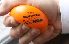 The Progressive Conservatives handed out these stress balls to reporters following question period earlier this week. A new poll suggests the stress could be getting to the NDP.