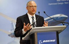 Kevin Bartelson, Boeing Canada Winnipeg's general manager, announces the plant expansion  that will allow workers to make composite parts for the new Boeing 737 MAX airliner (above).