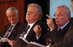 From right: former prime minister Paul Martin, former Quebec premier Jean Charest and Kevin Lynch, former Clerk of the Privy Council. Martin told Thursday's summit giving short shrift to aboriginal education is not only 'immoral' but foolish and short-sighted.