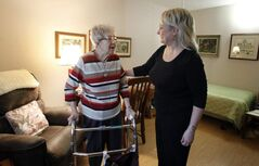 Jocelyn Thorvaldson (right) calls her facility 'personal care home light' and it's the perfect fit for Joan Phillips.