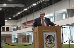 Outgoing university president Lloyd Axworthy introduced the soccer facility on Tuesday.