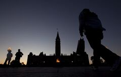 The Parliament Buildings are silhouetted at dusk in Ottawa, Wednesday June 13, 2012. The coming year could bring some clarity to the murky legal waters of the federal Conservatives' law-and-order agenda, particularly mandatory minimum sentences, even as new complications are added to the mix. THE CANADIAN PRESS/Adrian Wyld