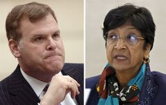 John Baird, and UN's Navi Pillay, are pictured recently. THE CANADIAN PRESS/files