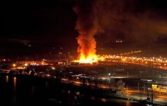A large fire burns at the Lakeland Mills sawmill in Prince George, B.C., on April 24, 2012. THE CANADIAN PRESS/Andrew Johnson