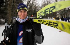 Jesse Bachinsky gets psyched up for his 7.5-km male juvenile cross-country ski race, part of the Manitoba Winter Games, at Birch Ski Area in Roseisle.