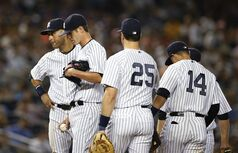From left, New York Yankees shortstop Derek Jeter, starting pitcher Shane Greene, first baseman Mark Teixeira and second baseman Martin Prado (14) wait forNew York Yankees manager Joe Girardi removed Greene from the mound after Greene allowed six runs, including two home runs to the Boston Red Sox in a baseball game at Yankee Stadium in New York, Tuesday, Sept. 2, 2014. (AP Photo/Kathy Willens)