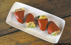 Russian salad stuffed with Piquillo peppers