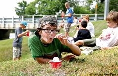 Grade 6 student Noah at Windsor School chows down on a hot fudge sundae from the BDI on the last day of school.