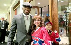 Kyla Horbul (brother Jeremy at right) with her idol, Canadiens defenceman P.K. Subban.