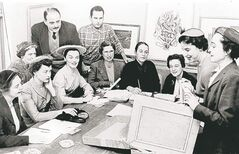 The organizing committee for the first Winnipeg Show in November 1955, an annual juried exhibition and sale featuring art by emerging and established Canadian artists. Front row (left to right): Virginia Berry, Beverley McNaught, Eileen  Stewart, Eileen Abbott, Marjory Drache, Betty Richards, Rita Loadman, Louise Bernard; Back row: Ruth Gordon, George Swinton, Winston Leathers.